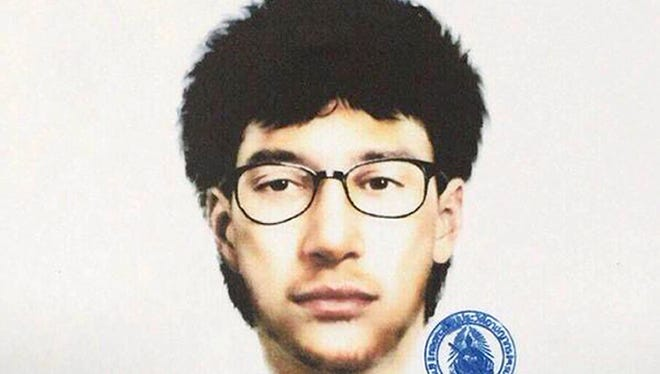 Photo released by the Thai Royal Police on Aug. 19, 2015, shows a detailed sketch of a man suspected of planting a bomb near the Erawan Shrine, in Bangkok, Thailand.