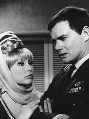 """I Dream of Jeannie"" co-stars Barbara Eden and Larry Hagman."