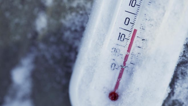 Thermometer in below-zero weather.