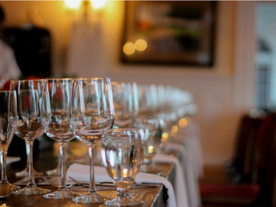 Wine glasses for a pairing at the Stanley Hotel in
