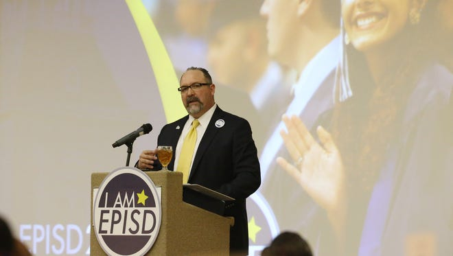 EPISD Superintendent Juan Cabrera addresses employees, guests, and business and community leaders during the EPISD 2020 Creating Global Leaders Luncheon on Wednesday morning at the Wyndham El Paso Airport Hotel and Water Park.  Cabrera gave a State of the District address about accomplishments that have been made during his tenure as superintendent.