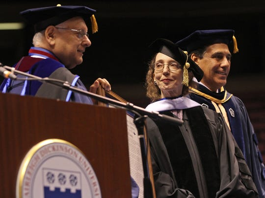 Author Joyce Carol Oates, receives a Doctor of Humane Letters during the 2014 Fairleigh Dickinson University commencement exercises at the Izod Center. She stands with school President Sheldon Drucker,left, and Christopher Capuano, University Provost and Senior Vice President for Academic Affairs. Author and publisher Otto Penzler has been friends with the prolific, New Jersey-based Oates for many years.