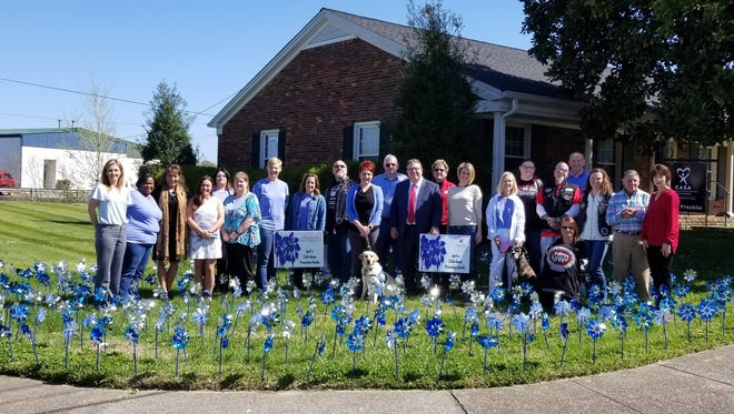 Mayor Paige Brown, Sumner County CASA, Ashley's Place and other community members celebrated the dedication of pinwheels to support Child Abuse Prevention Month.