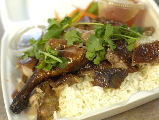 The bar-b-que duck with rice at Le's Chinese Bar-B-Que
