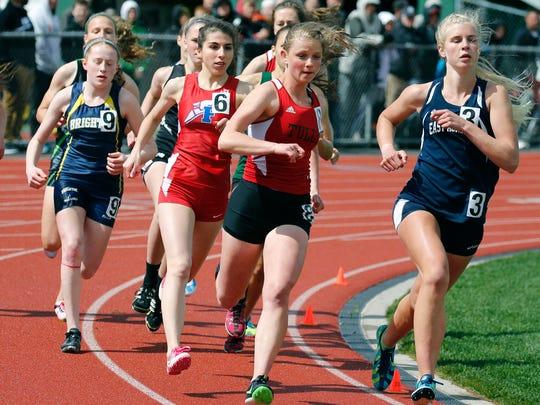 Girls 800m race during the Royal Comet Invitational at Rush-Henrietta High School.