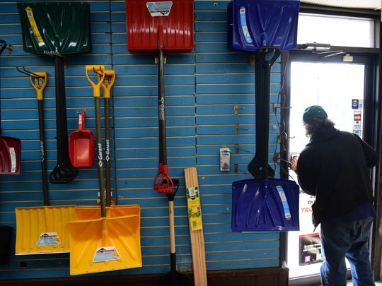 Snow shovels were stocked at Little Ferry Hardware on Main Street on Wednesday.