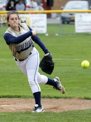 Izzy Milazzo delivers a pitch for Notre Dame during a 5-4 victory over Thomas A. Edison on April 25.
