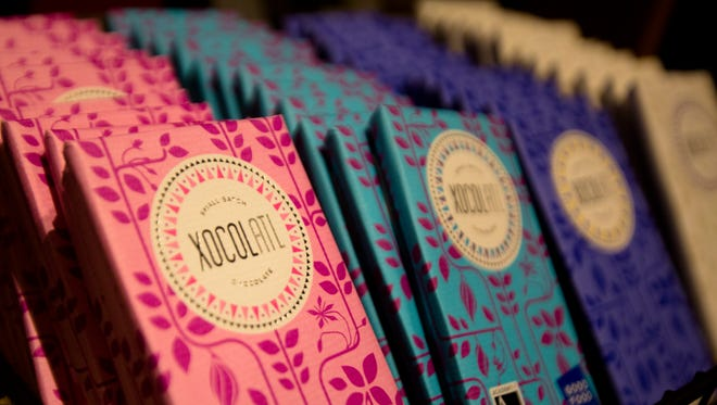 Chocolate for sale at the end of Chocolate: The Exhibition at the Cincinnati Museum Center on Thursday, June 28, 2018 in Cincinnati. The exhibit highlights the journey that chocolate takes from the rainforest to the candies and cocoas we consume.