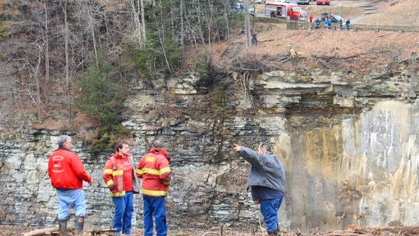 Rescue crews consult after three boaters were thrown into the water at Letchworth State Park on April 4, 2015.