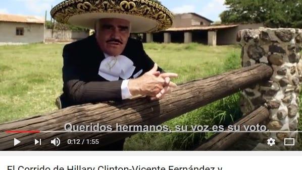 """Vicente Fernandez sings """"El Corrido de Hillary Clinton."""""""
