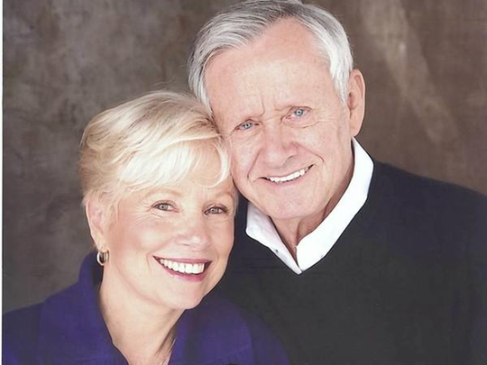 Roger Perry is photographed with his wife, Joyce Bulifant, before a tribute to Helen Hayes they performed for the Coachella Valley Repertory.