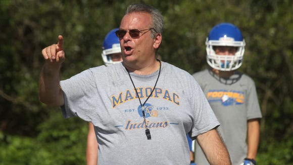 Mahopac head coach Mark Langella during a practice