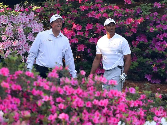 Phil Mickelson and Tiger Woods played a practice round together Tuesday.