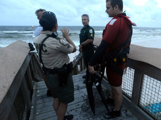 The Navarre Beach Fire Department, Florida Fish and Wildlife Conservation Commission, the Coast Guard and the Santa Rosa Sheriff's Office aided in the search for a missing man Wednesday night at Navarre Beach. Nightfall and an incoming thunderstorm halted the search until morning.