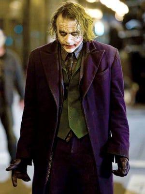 "Heath Ledger as The Joker in ""The Dark Knight"" (2008)."