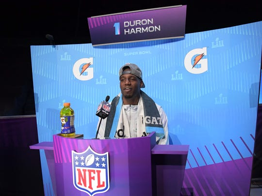 New England Patriots player Duron Harmon is interviewed during Super Bowl LII Opening Night at Xcel Energy Center.