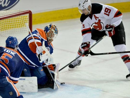 Edmonton Oilers goalie Viktor Fasth makes a save on