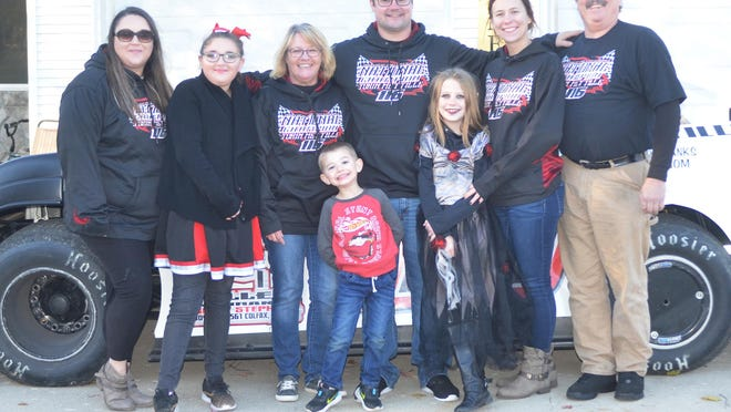 The Mettille racing team includes, in front from left, Bensyn Mettille and Jaelyn Mettille. In back are Kelsey Mettille, Myah Mettille, Shelly Turner, Torin Mettille, Lacey Mettille and Donald Masching.
