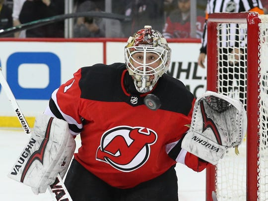 Mar 31, 2018; Newark, NJ, USA; New Jersey Devils goaltender