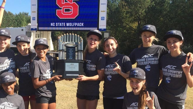 Roberson alum Rachel Koon, second from right, is a redshirt sophomore for the N.C. State women's cross country team.