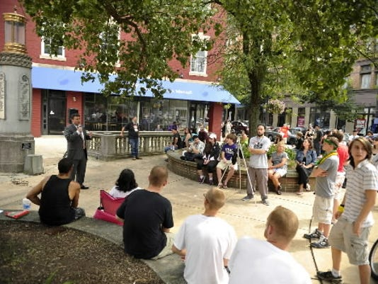 About 100 people gathered in Continental Square for the York Hemp Freedom Rally on July 27, 2013.