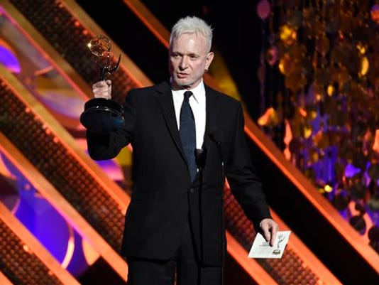 "FILE - In this April 26, 2015 file photo, Anthony Geary accepts the award for outstanding lead actor in a drama series for his role as Luke Spencer in ""General Hospital"" at the 42nd annual Daytime Emmy Awards in Burbank, Calif. Geary is leaving ""General Hospital,"" the soap opera where he has played the character of Luke Spencer for nearly three decades. Frank Valenti, the show's executive producer, said Friday, May 8, it was Geary's decision to leave. He will be written out of the show for an episode that will air on the ABC daytime drama this summer. (Photo by Chris Pizzello/Invision/AP, File)"