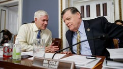 House Rules Chairman Pete Sessions, R-Texas, left,