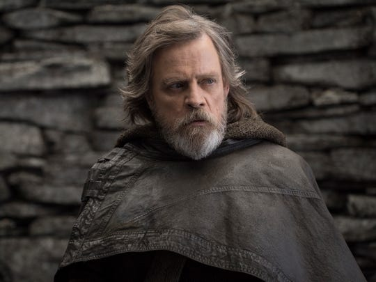 "This image released by Lucasfilm shows Mark Hamill as Luke Skywalker in ""Star Wars: The Last Jedi."""