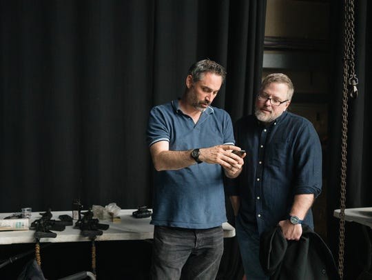 Filmmaker Alex Garland (left) and novelist Jeff VanderMeer