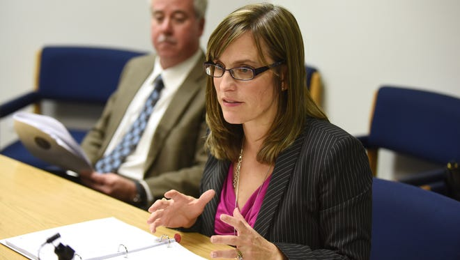 Salem-Keizer School District Superintendent Christy Perry talks about the 2015-16 school budget proposal on Tuesday, April 28, 2015, during a Statesman Journal Editorial Board meeting.