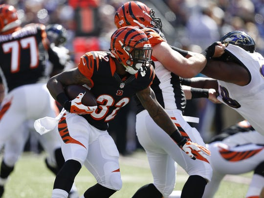 Bengals running back Jeremy Hill (32) will be this week's Beyond the Stripes guest.
