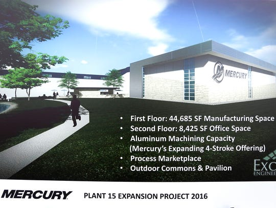 A poster at the groundbreaking lists what the expansion