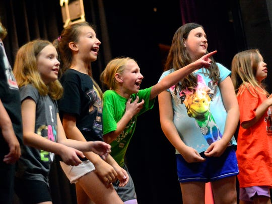 Rose Walsh Gurklis, 11, center, points during a rehearsal