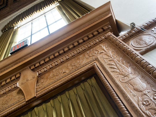 Interior woodwork of the main room of the bank. Silas