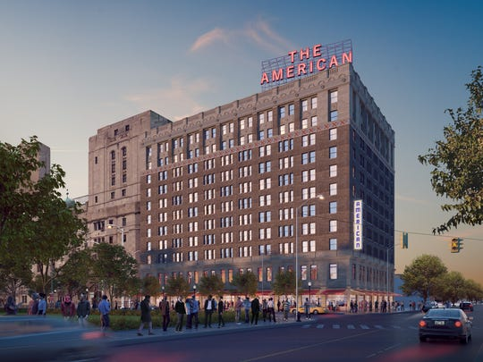 A 2017 rendering of the proposed redevelopment of The American hotel.