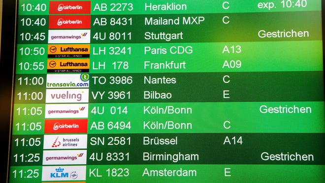 Flight information boards show canceled Germanwings flights during a six-hour strike by Germanwings pilots at Tegel Airport that grounded 116 flights on Aug. 29, 2014, in Berlin.