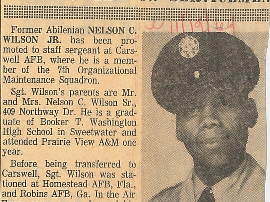 The Reporter-News in November 1964 provided an update on the Air Force career of Nelson Wilson Jr., who had been promoted to staff sergeant. He would serve for 20 years and make his home in Abilene.