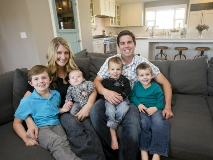 The Liles family at their home in Phoenix.  Chris, a builder, decided to do a major remodel and addition to the 1,600-square-foot home.