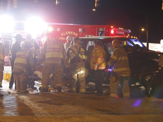 Rescuers from Cranston Heights and Elsmere fire companies free a pickup truck driver – later charged by state police – when he was trapped after a four-vehicle crash about 9:45 p.m. Tuesday at Faulkand and Centre roads.