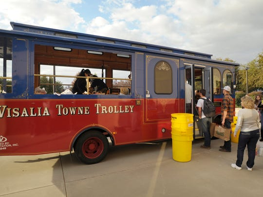 "In this file photo, students and staff from Central Valley Christian High School participate in a ""Stuff the Trolley"" event."