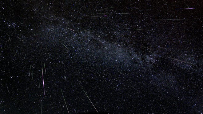 Astronomer Fred Bruenjes recorded a series of many 30 second long exposures spanning about six hours on the night of Aug. 11 and early morning of Aug. 12, 2004, using a wide angle lens. Combining those frames which captured meteor flashes, he produced this dramatic view of the Perseids of summer. There are 51 Perseid meteors in the composite image, including one seen nearly head-on.
