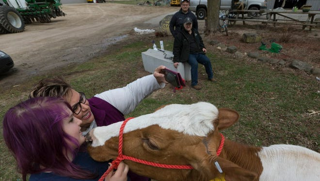 Gina Stokes makes a photo of her 14-year-old daughter, Sidni, and their dairy cow Smorz while her husband, Dan, and son, Spencer, look on at their farm in Omro. All the animals in their herd have names instead of numbers that many dairy farmers use.