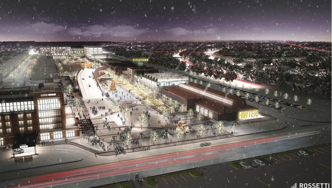 Plans call for a 10-acre park inside of the Titletown District next to Lambeau Field. It is designed to turn into a winter wonderland for ice skating and tubing (on a 45-foot-tall slope with warm-up area underneath).