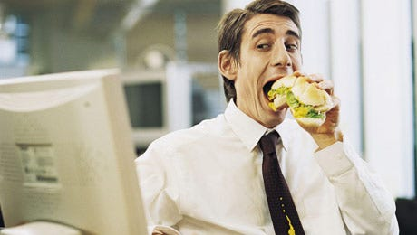 If you eat at yours desk, you tend to consume more calories.