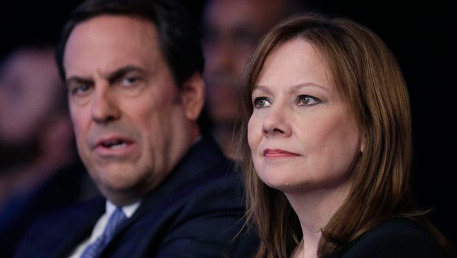 GM CEO Mary Barra and global product chief Mark Reuss at the recent New York Auto Show.
