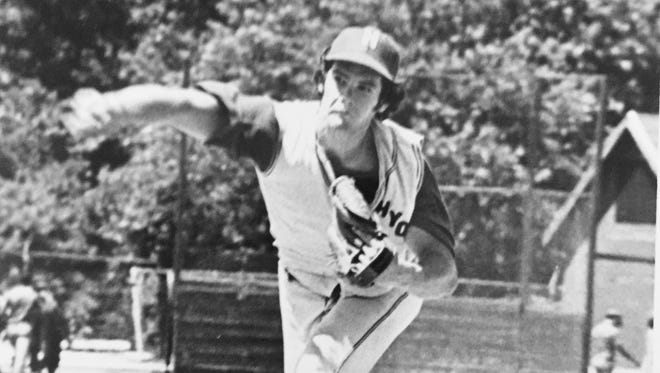 Chip Hirst, shown here in a 1971 Jersey Shore Baseball League game playing for Howell, won a then-record 33 games for Manasquan High School.