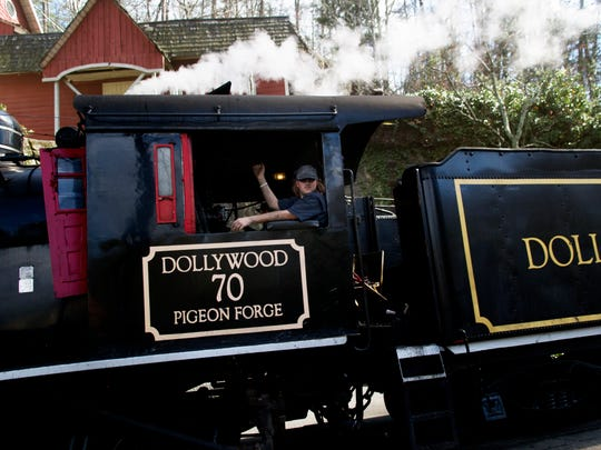 The steam locomotive chugs past during opening day at Dollywood in Pigeon Forge, Tennessee on Saturday, March 18, 2017.