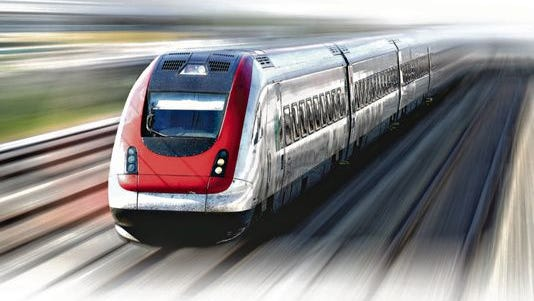 All Aboard Florida passenger rail illustration.