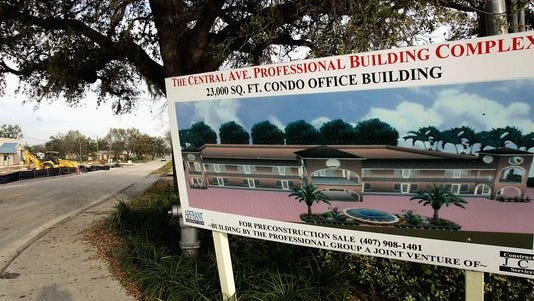 A sign announces land for sale in Orlando, Florida. Orlando has now surpassed St. Petersburg in population, becoming the fourth largest city in Florida.