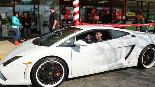 The Situation pulls up in a Lamborghini at the March 1 opening of his Boca Training Club in Middletown